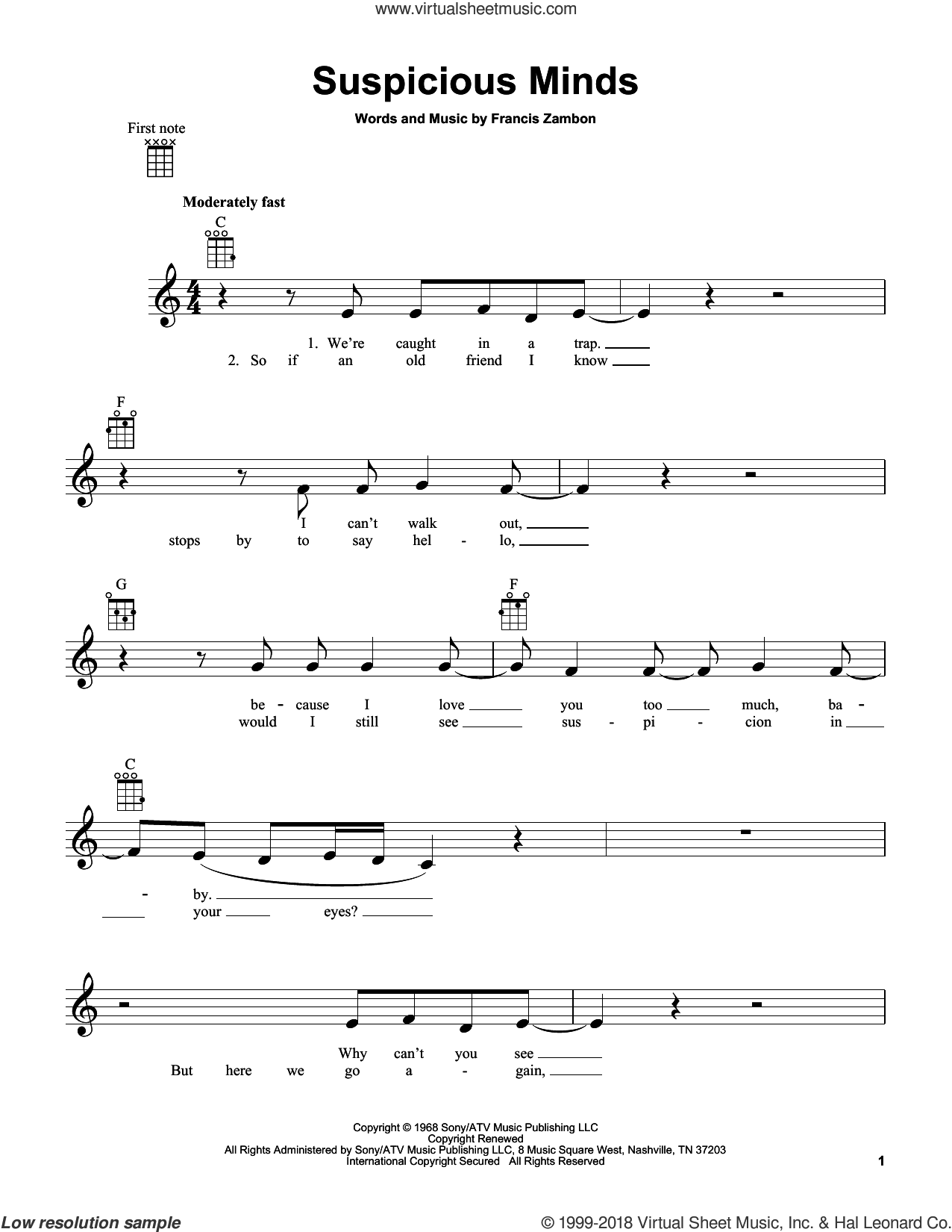 Suspicious Minds sheet music for ukulele by Francis Zambon