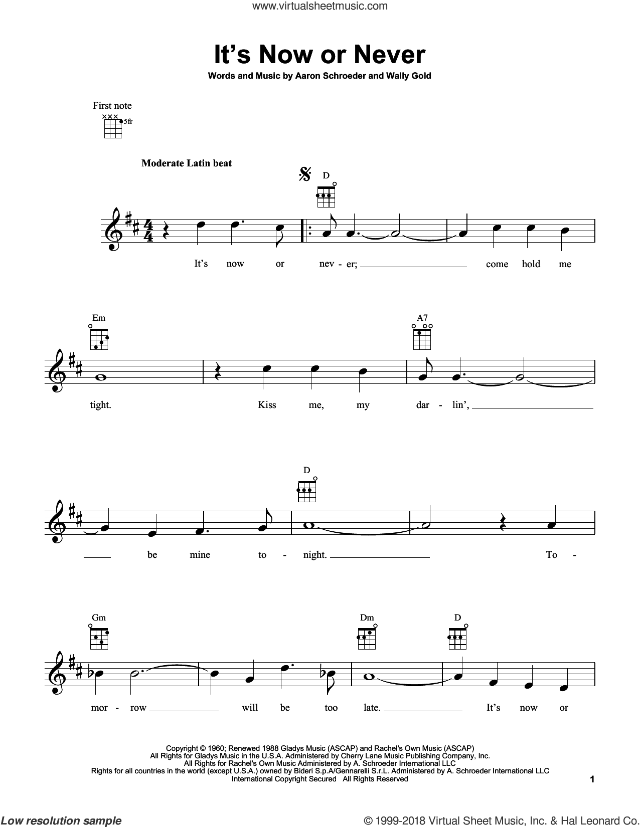 It's Now Or Never sheet music for ukulele by Elvis Presley, Aaron Schroeder and Wally Gold, intermediate skill level