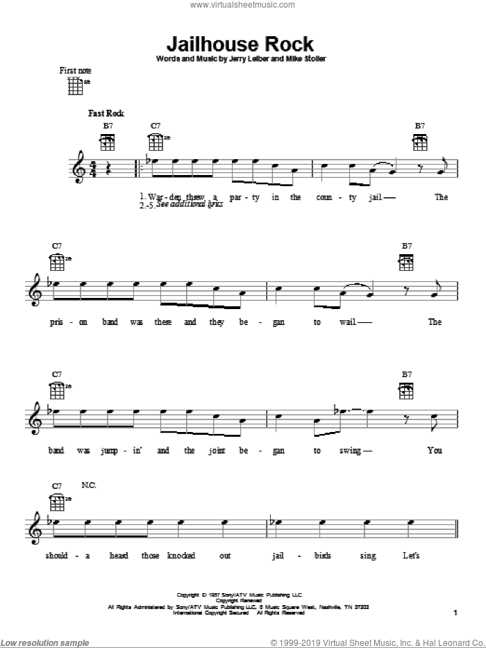 Jailhouse Rock sheet music for ukulele by Elvis Presley, Jerry Leiber and Mike Stoller, intermediate skill level