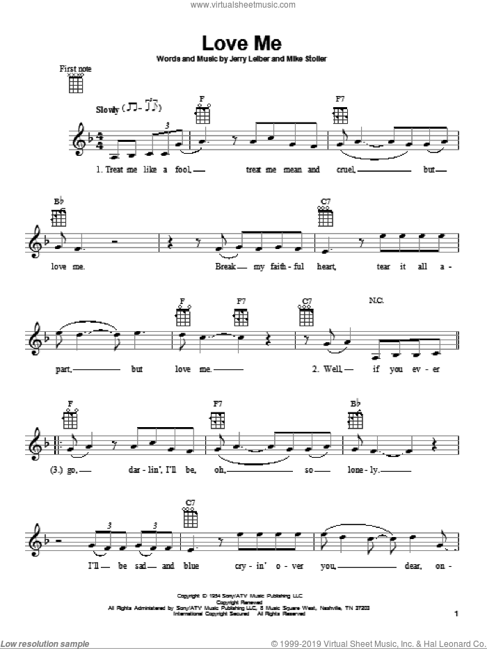 Love Me sheet music for ukulele by Mike Stoller