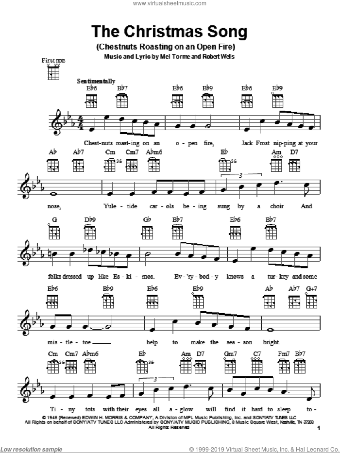 The Christmas Song (Chestnuts Roasting On An Open Fire) sheet music for ukulele by Mel Torme and Robert Wells, intermediate skill level