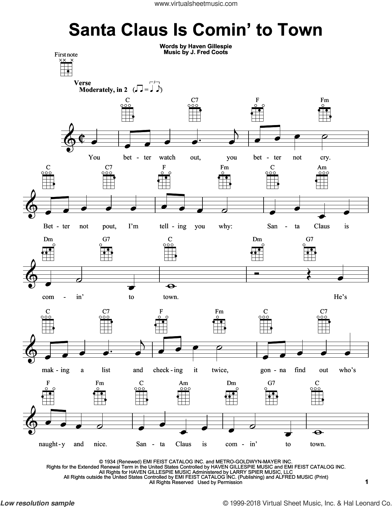 Santa Claus Is Comin' To Town sheet music for ukulele by J. Fred Coots and Haven Gillespie, intermediate skill level