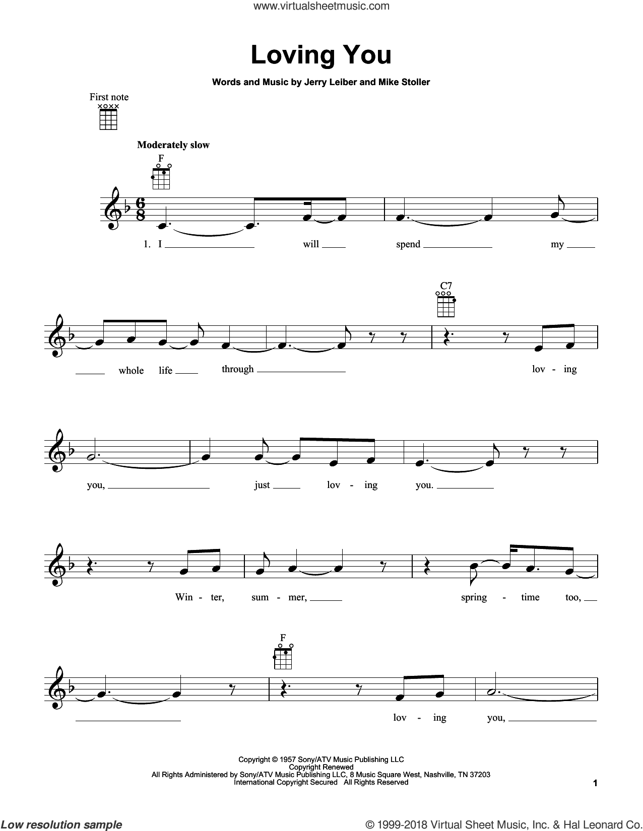 Loving You sheet music for ukulele by Mike Stoller, Elvis Presley and Jerry Leiber. Score Image Preview.