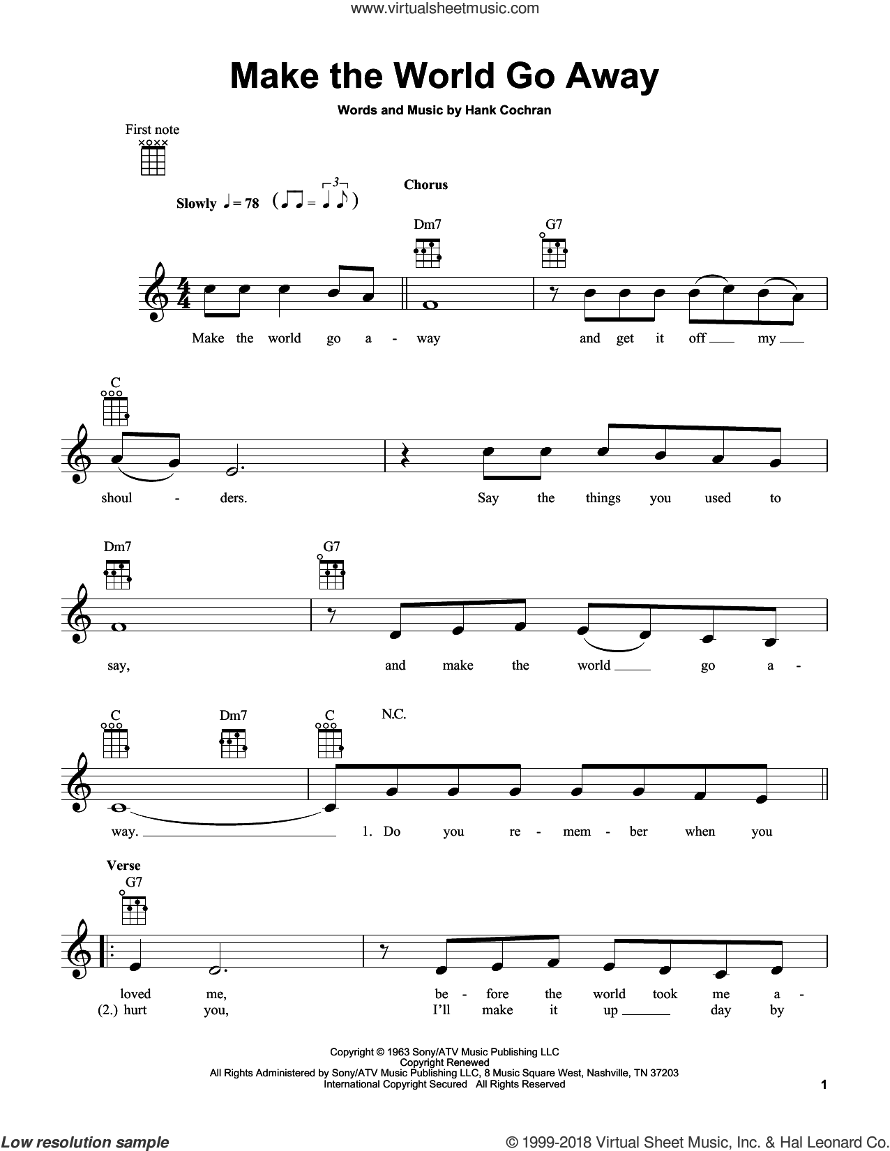 Make The World Go Away sheet music for ukulele by Eddy Arnold, Elvis Presley and Hank Cochran, intermediate ukulele. Score Image Preview.