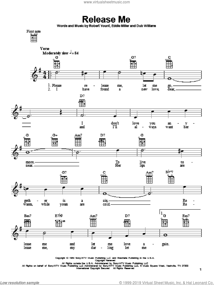 Release Me sheet music for ukulele by Engelbert Humperdinck, Elvis Presley, Dub Williams, Eddie Miller and Robert Yount, intermediate skill level