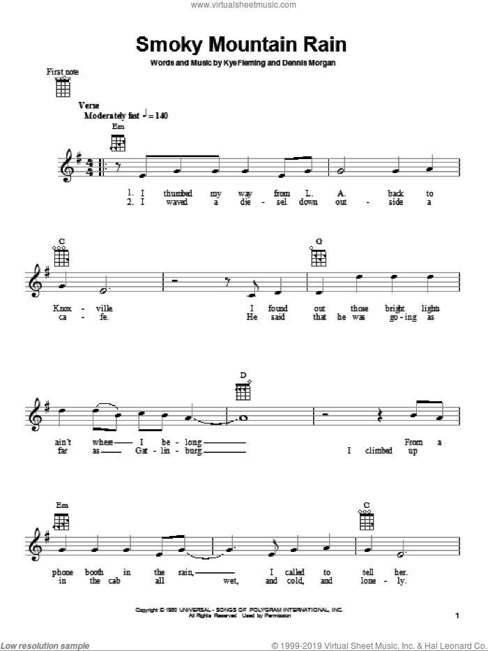 Smoky Mountain Rain sheet music for ukulele by Ronnie Milsap, Dennis Morgan and Kye Fleming, intermediate skill level