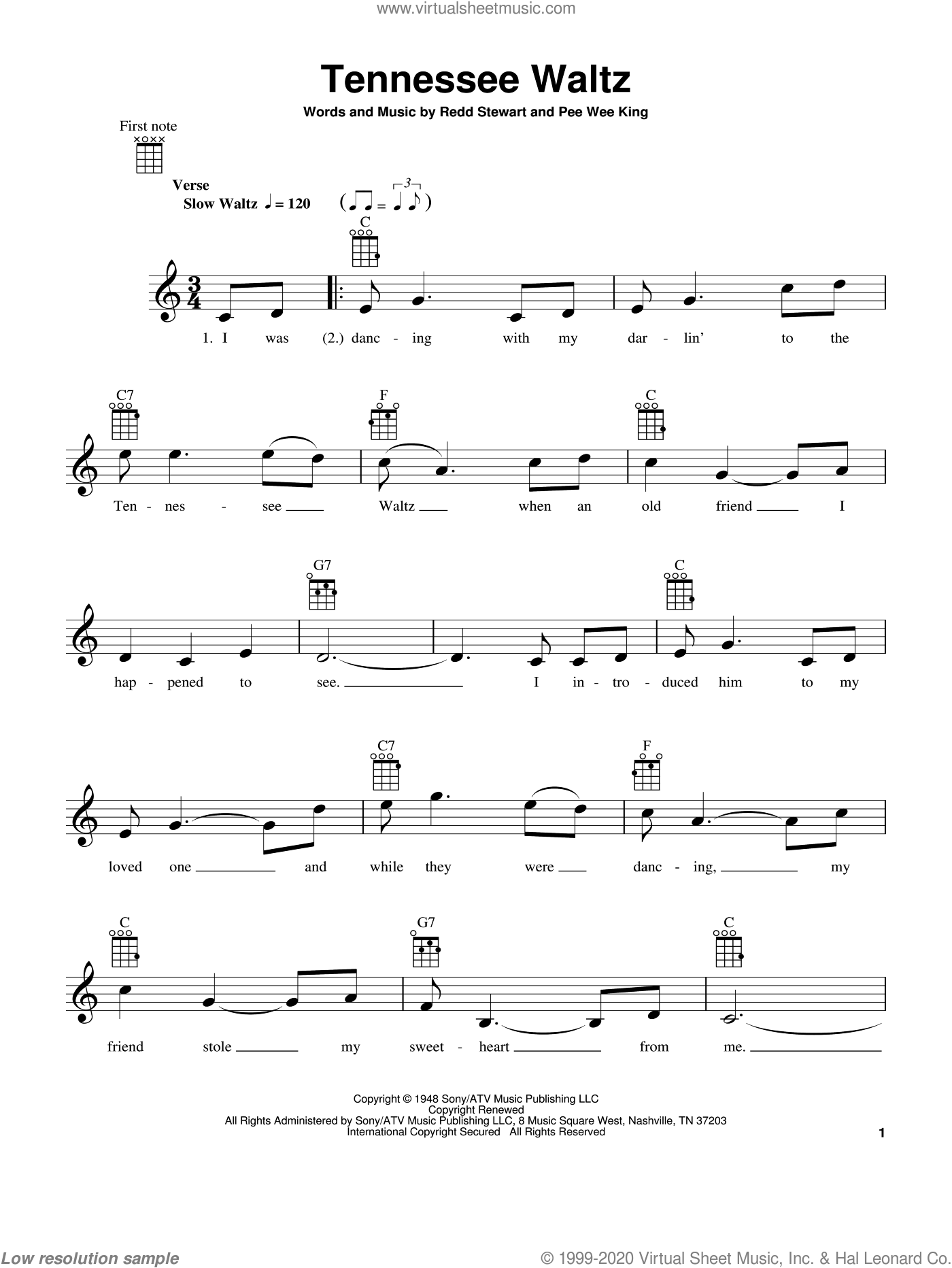 Tennessee Waltz sheet music for ukulele by Patti Page and Pee Wee King, intermediate. Score Image Preview.