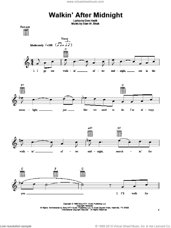 Walkin' After Midnight sheet music for ukulele by Patsy Cline, intermediate. Score Image Preview.
