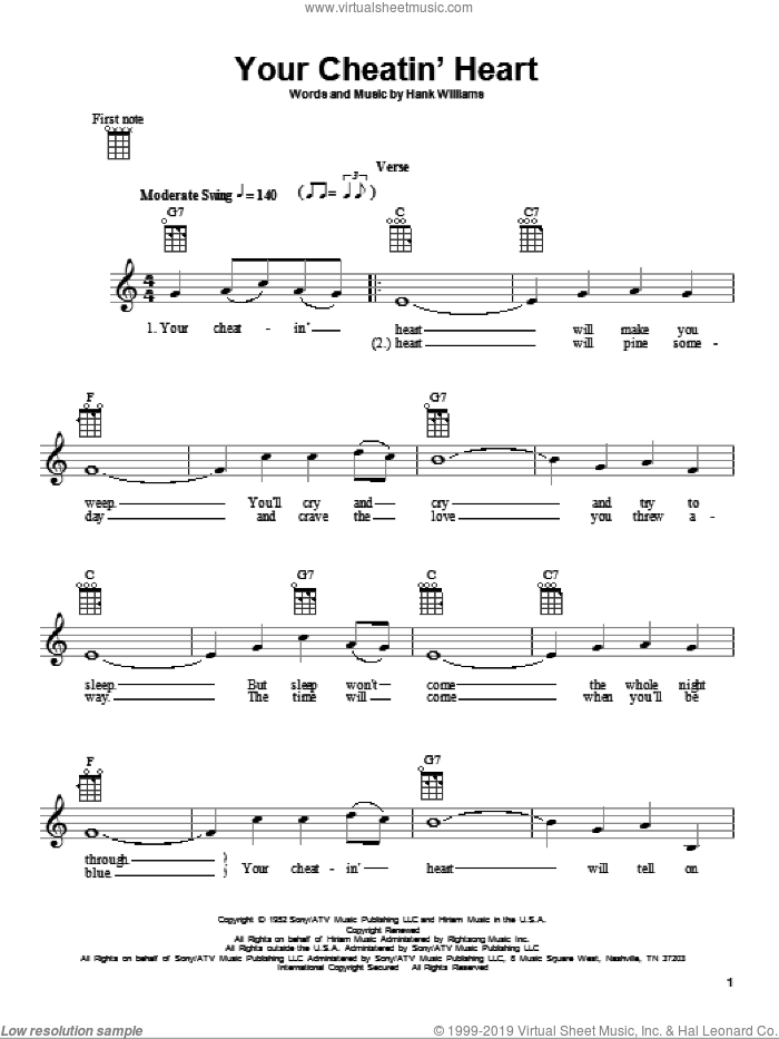 Your Cheatin' Heart sheet music for ukulele by Hank Williams and Patsy Cline, intermediate skill level