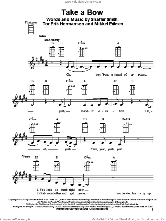 Take A Bow sheet music for ukulele by Rihanna, Glee Cast, Mikkel Eriksen, Shaffer Smith and Tor Erik Hermansen, intermediate. Score Image Preview.