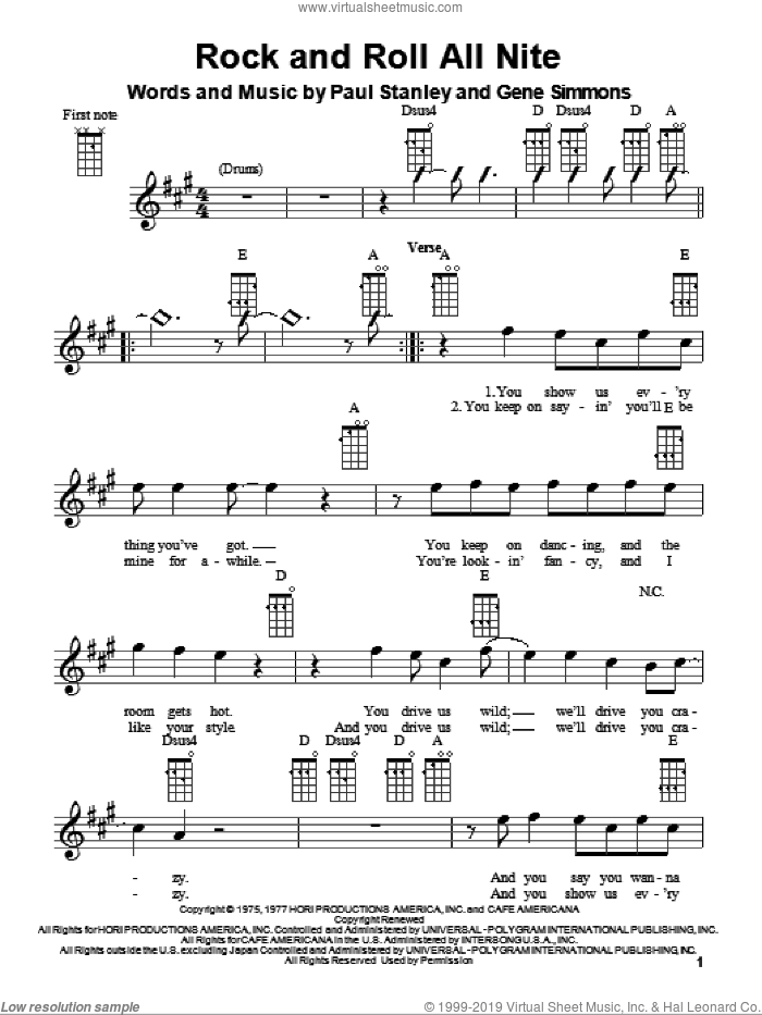 Rock And Roll All Nite sheet music for ukulele by KISS, Gene Simmons, Glee Cast and Paul Stanley, intermediate skill level