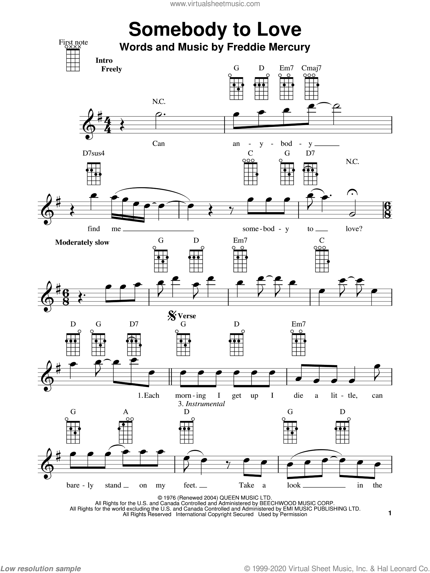 Somebody To Love sheet music for ukulele by Queen, Freddie Mercury and Glee Cast, intermediate skill level