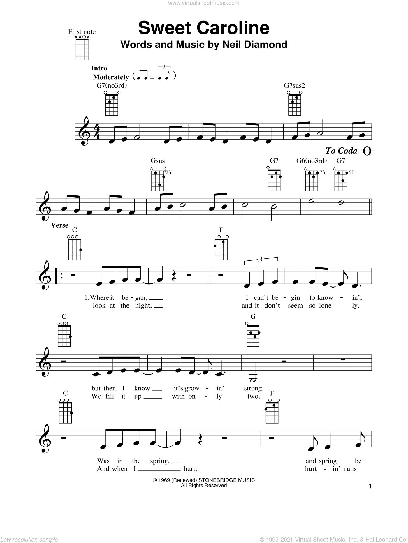 Sweet Caroline sheet music for ukulele by Neil Diamond and Glee Cast, intermediate skill level