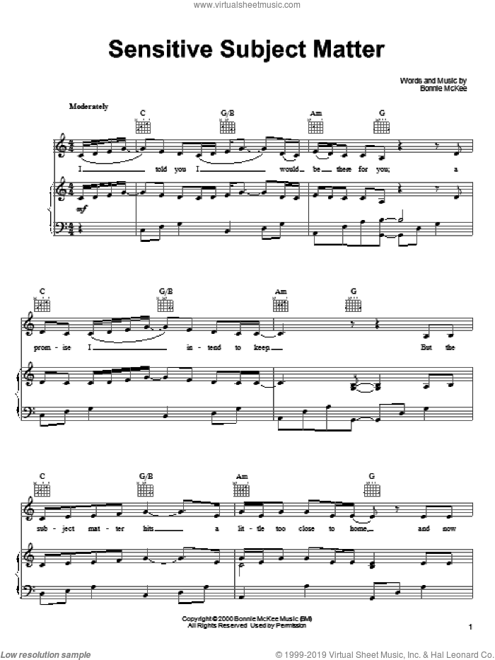 Sensitive Subject Matter sheet music for voice, piano or guitar by Bonnie McKee. Score Image Preview.