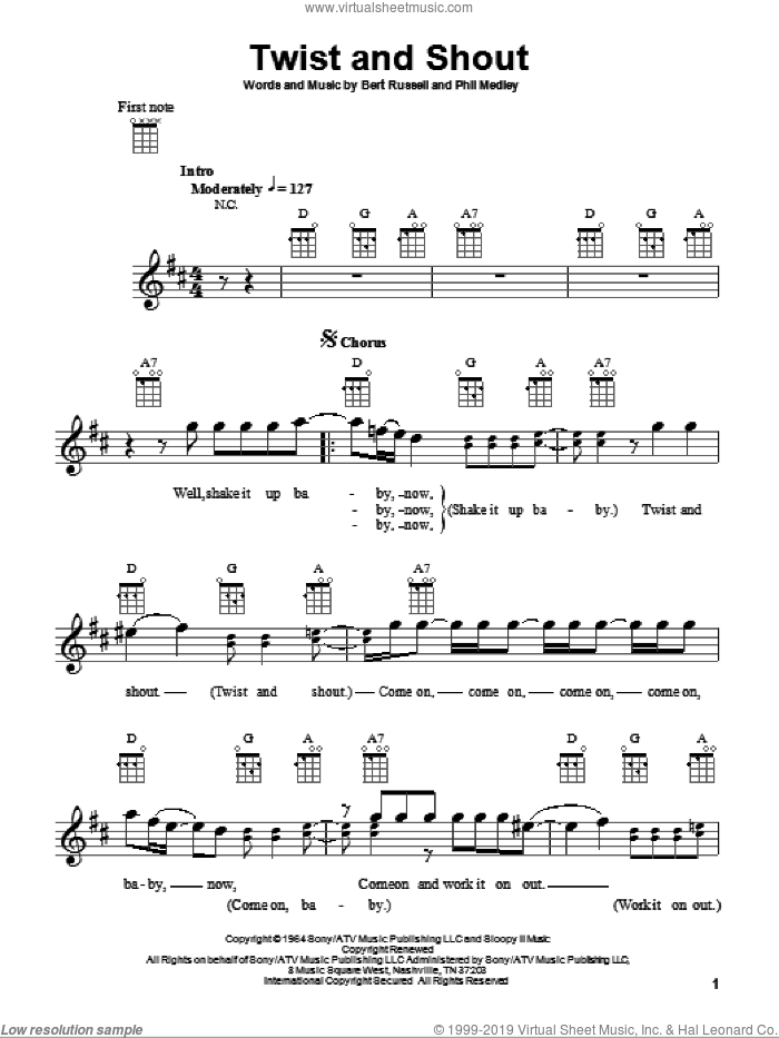 Twist And Shout sheet music for ukulele by The Beatles, Bert Russell and Phil Medley, intermediate skill level