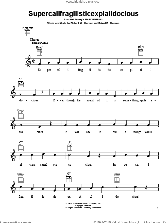 Supercalifragilisticexpialidocious sheet music for ukulele by Sherman Brothers, Richard M. Sherman and Robert B. Sherman, intermediate skill level