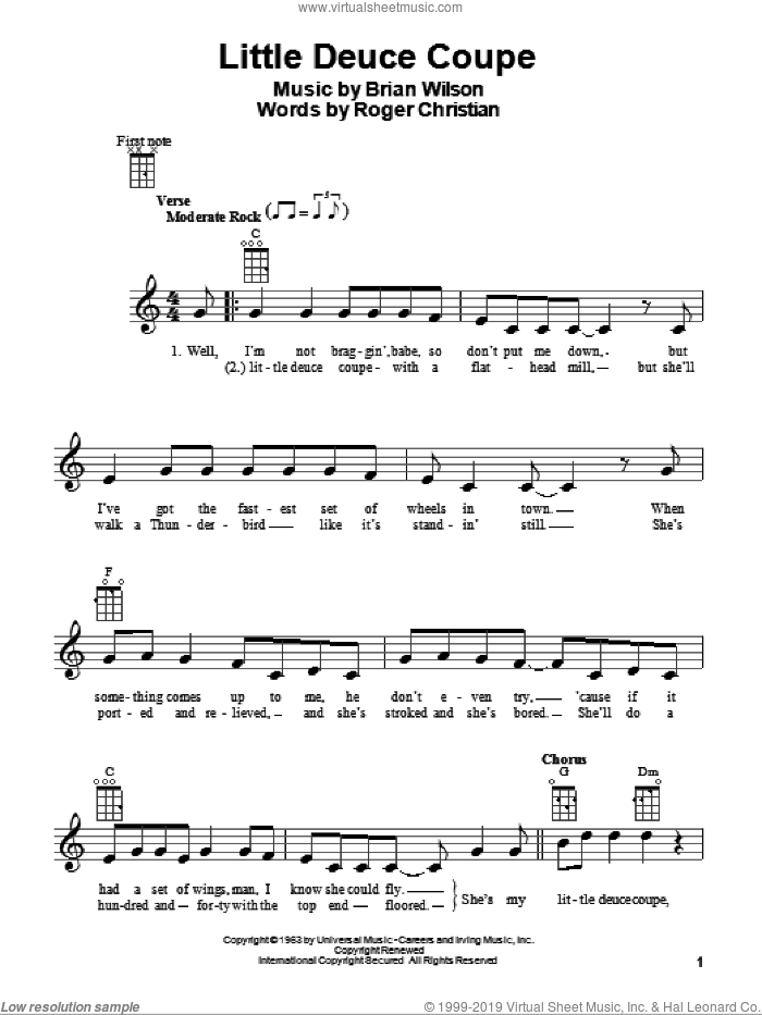 Little Deuce Coupe sheet music for ukulele by The Beach Boys and Brian Wilson, intermediate ukulele. Score Image Preview.