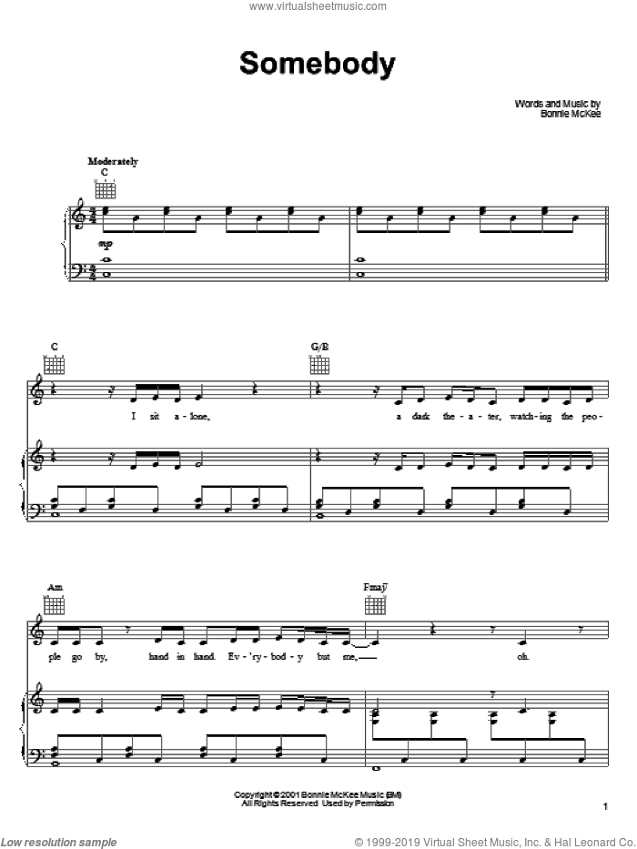 Somebody sheet music for voice, piano or guitar by Bonnie McKee, intermediate. Score Image Preview.