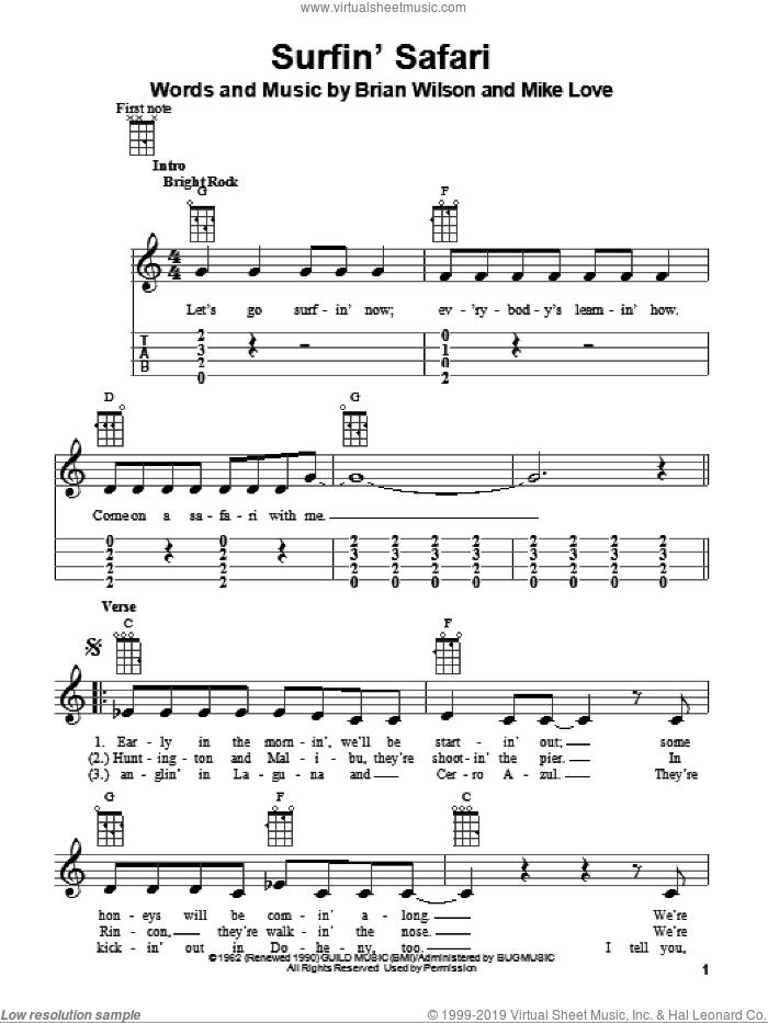 Surfin' Safari sheet music for ukulele by The Beach Boys, Brian Wilson and Mike Love, intermediate skill level
