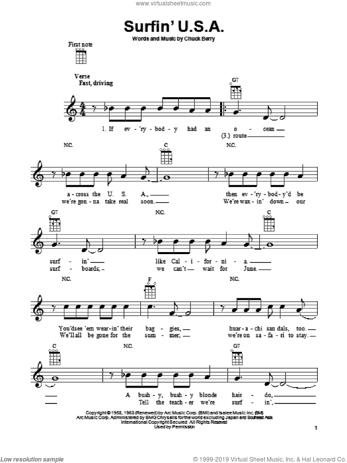 Surfin' U.S.A. sheet music for ukulele by The Beach Boys and Chuck Berry, intermediate skill level