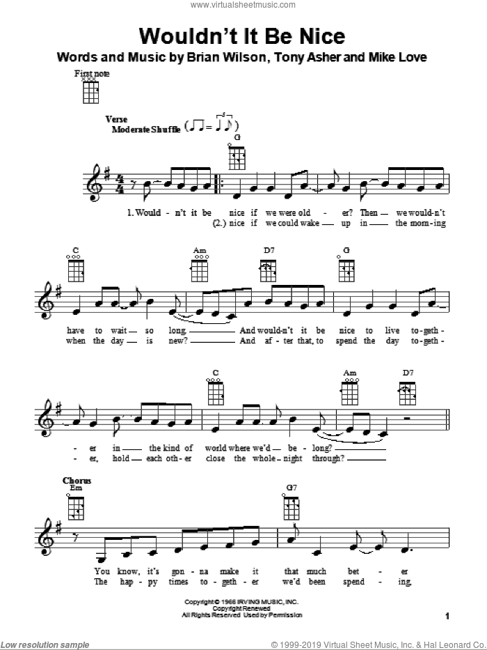 Wouldn't It Be Nice sheet music for ukulele by The Beach Boys and Brian Wilson. Score Image Preview.
