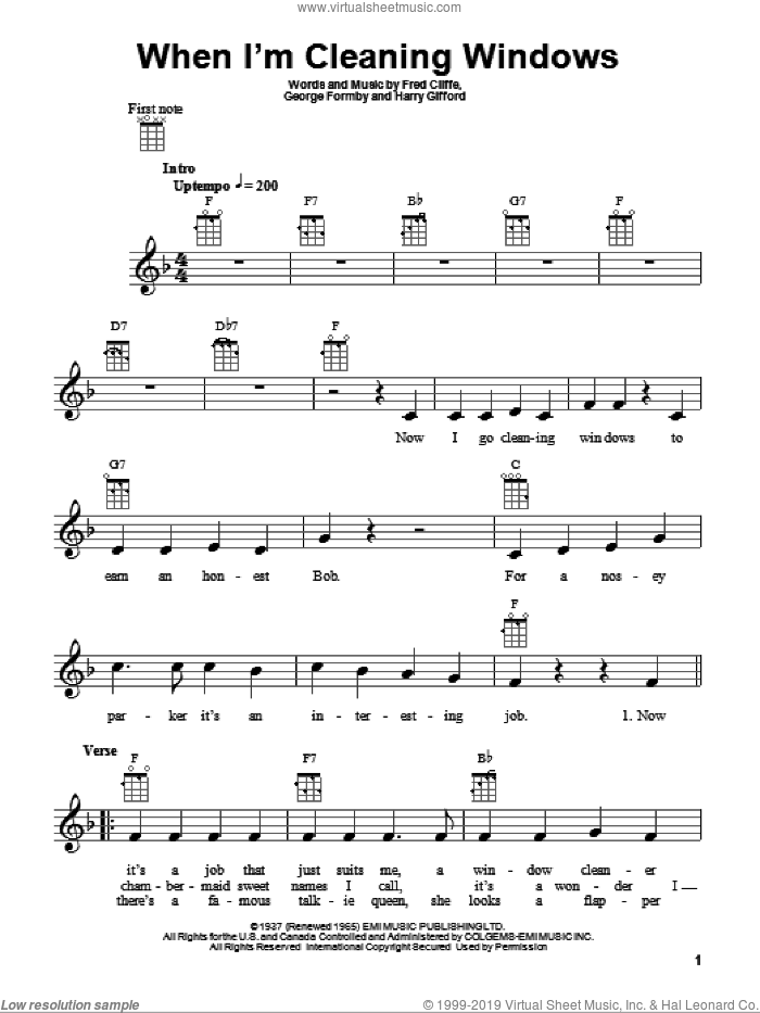 When I'm Cleaning Windows sheet music for ukulele by Harry Gifford