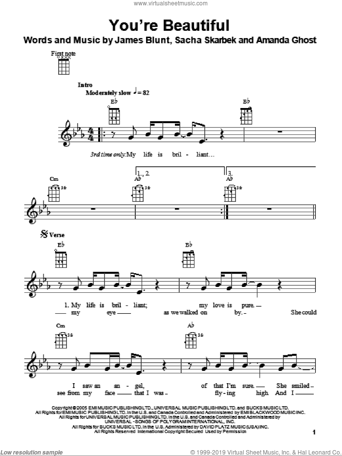 You're Beautiful sheet music for ukulele by Sacha Skarbek, Amanda Ghost and James Blunt. Score Image Preview.