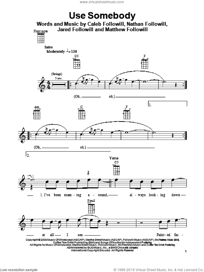 Use Somebody sheet music for ukulele by Kings Of Leon, Caleb Followill, Jared Followill, Matthew Followill and Nathan Followill, intermediate skill level