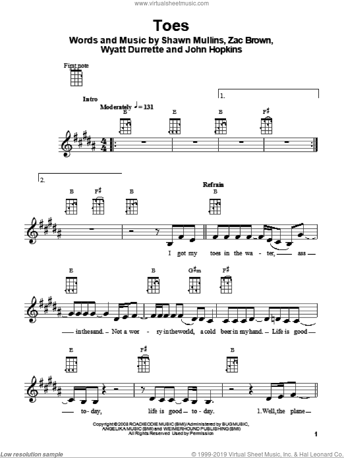 Toes sheet music for ukulele by Zac Brown Band and Shawn Mullins, intermediate. Score Image Preview.