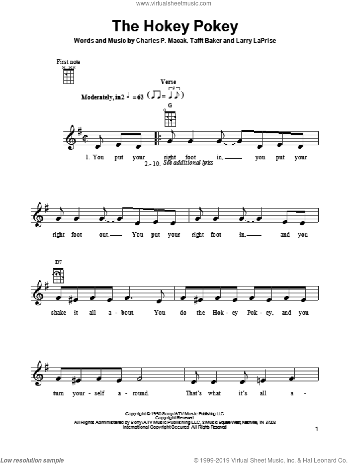 The Hokey Pokey sheet music for ukulele by Richard Thompson, Larry LaPrise and Tafft Baker, intermediate. Score Image Preview.