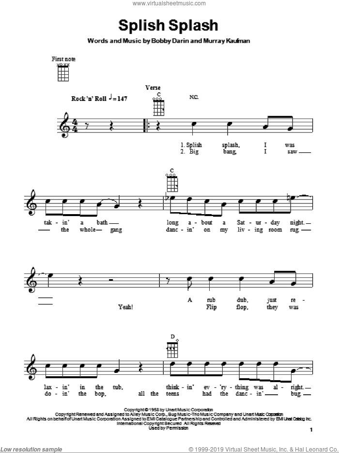 Splish Splash sheet music for ukulele by Murray Kaufman