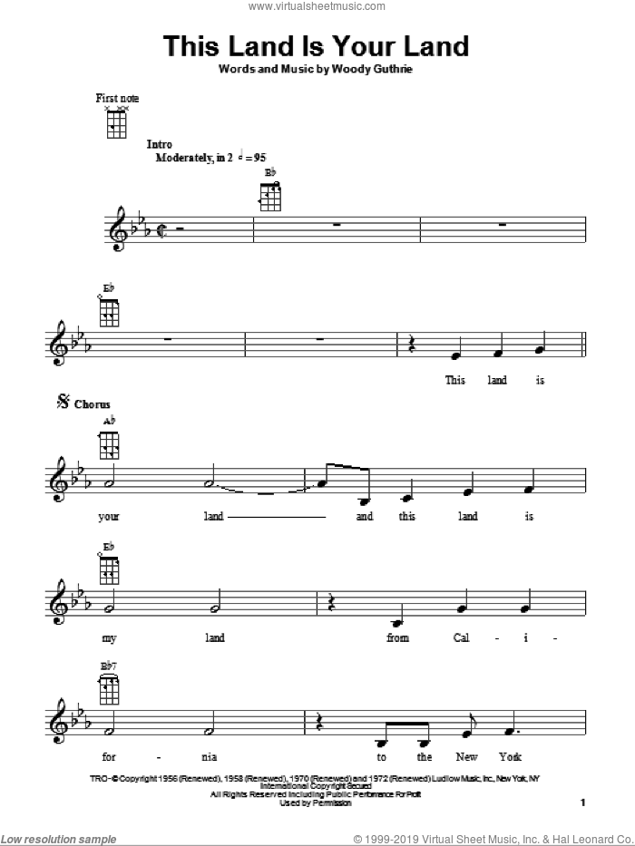 This Land Is Your Land sheet music for ukulele by Woody Guthrie. Score Image Preview.