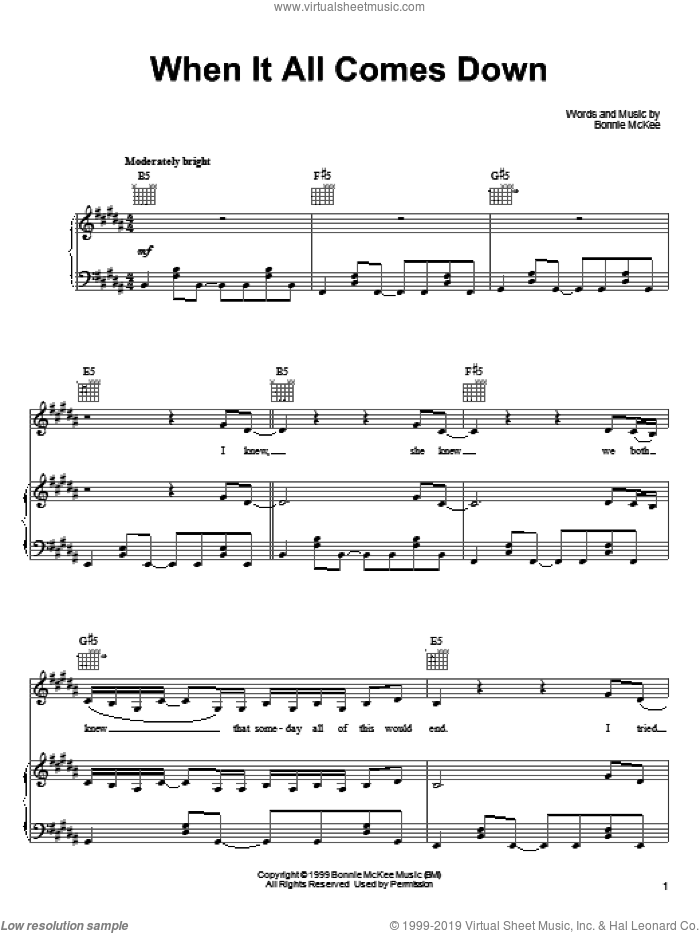 When It All Comes Down sheet music for voice, piano or guitar by Bonnie McKee. Score Image Preview.