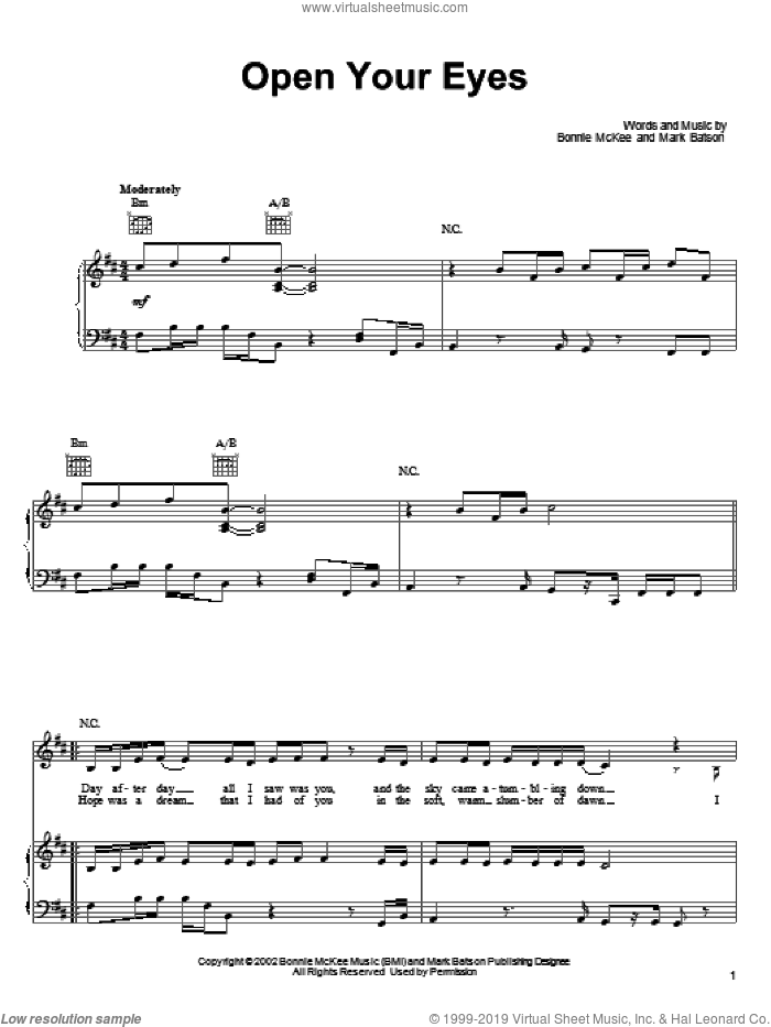 Open Your Eyes sheet music for voice, piano or guitar by Bonnie McKee and Mark Batson. Score Image Preview.