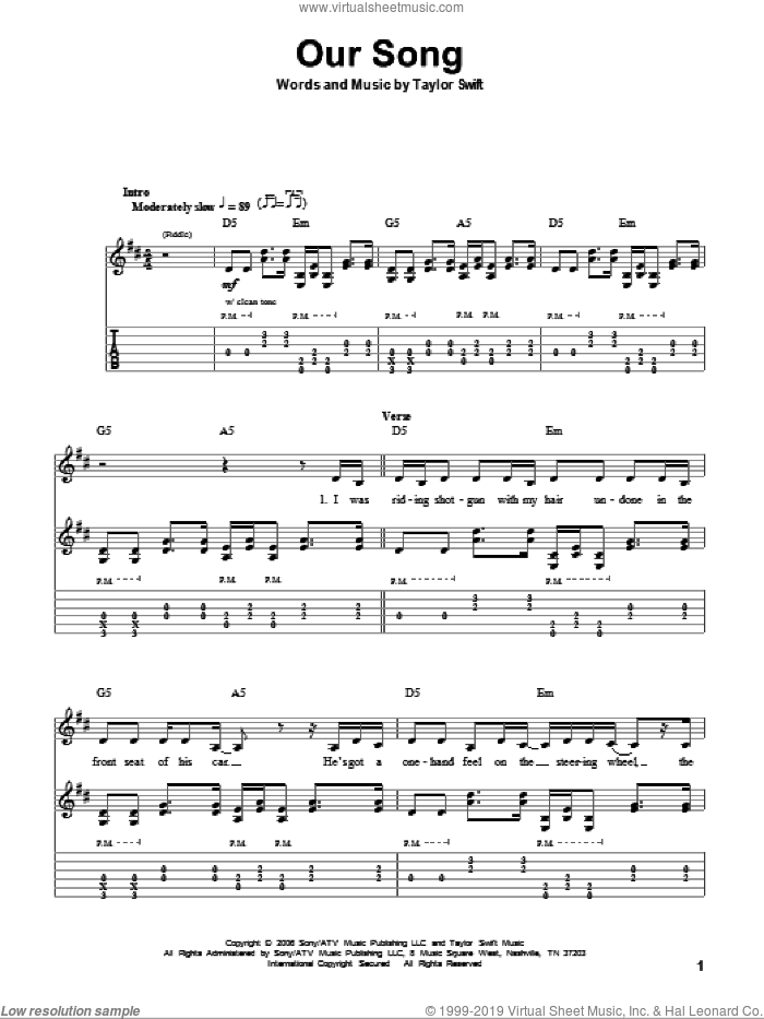 Our Song sheet music for guitar (tablature, play-along) by Taylor Swift, intermediate skill level