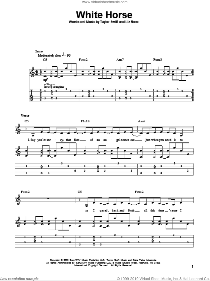 White Horse sheet music for guitar (tablature, play-along) by Taylor Swift and Liz Rose. Score Image Preview.