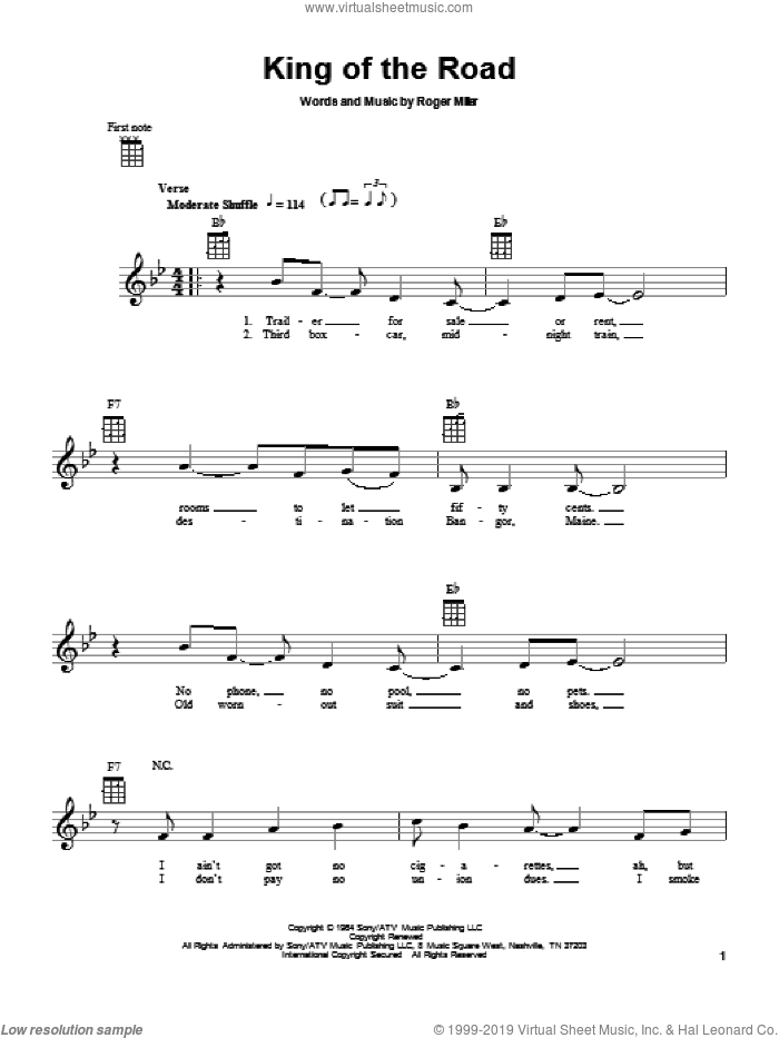 King Of The Road sheet music for ukulele by Roger Miller, intermediate. Score Image Preview.