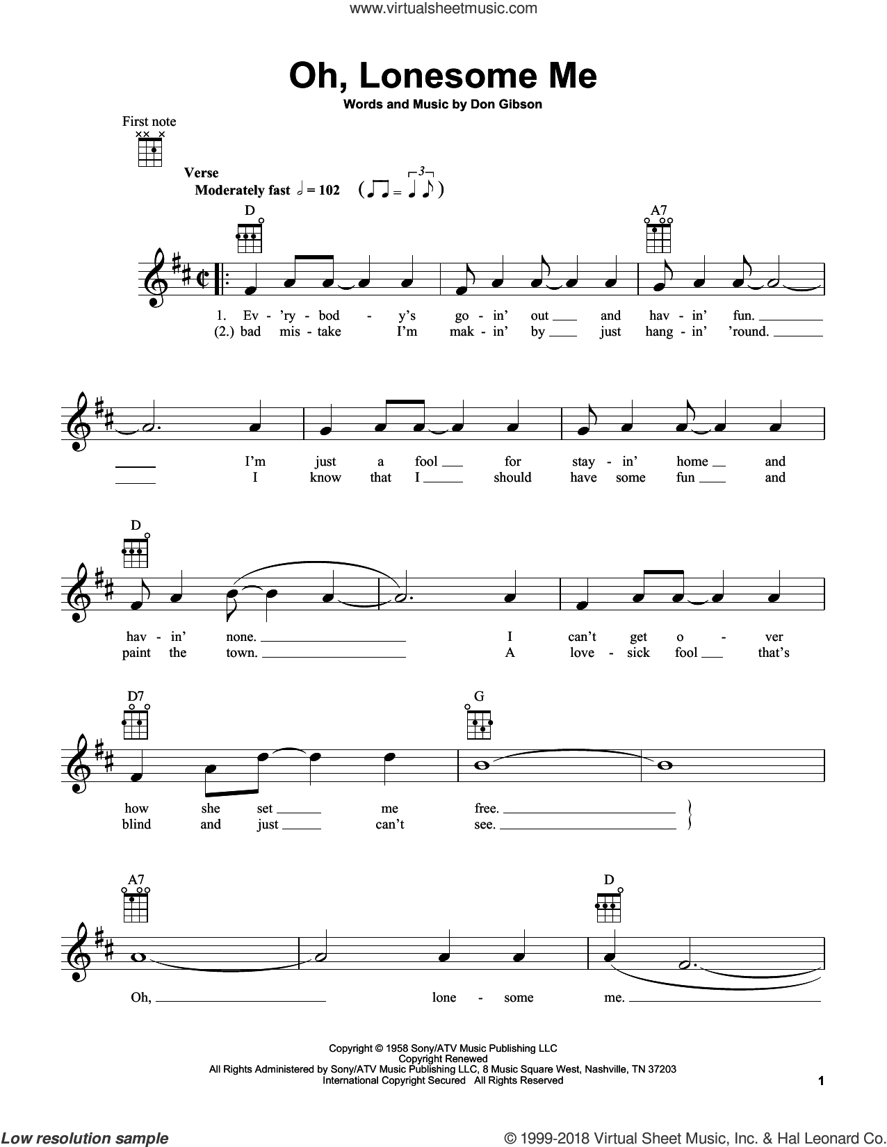 Oh, Lonesome Me sheet music for ukulele by Don Gibson, intermediate skill level
