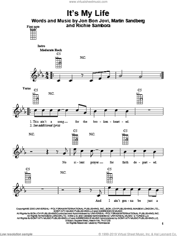 It's My Life sheet music for ukulele by Richie Sambora, Bon Jovi, Glee Cast and Martin Sandberg. Score Image Preview.