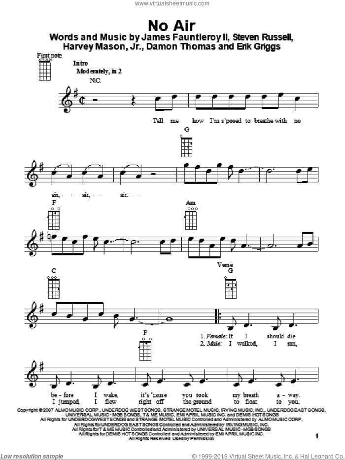 No Air sheet music for ukulele by Jordin Sparks with Chris Brown, Damon Thomas, Erik Griggs, Glee Cast, Harvey Mason, Jr., James Fauntleroy and Steven Russell, intermediate skill level