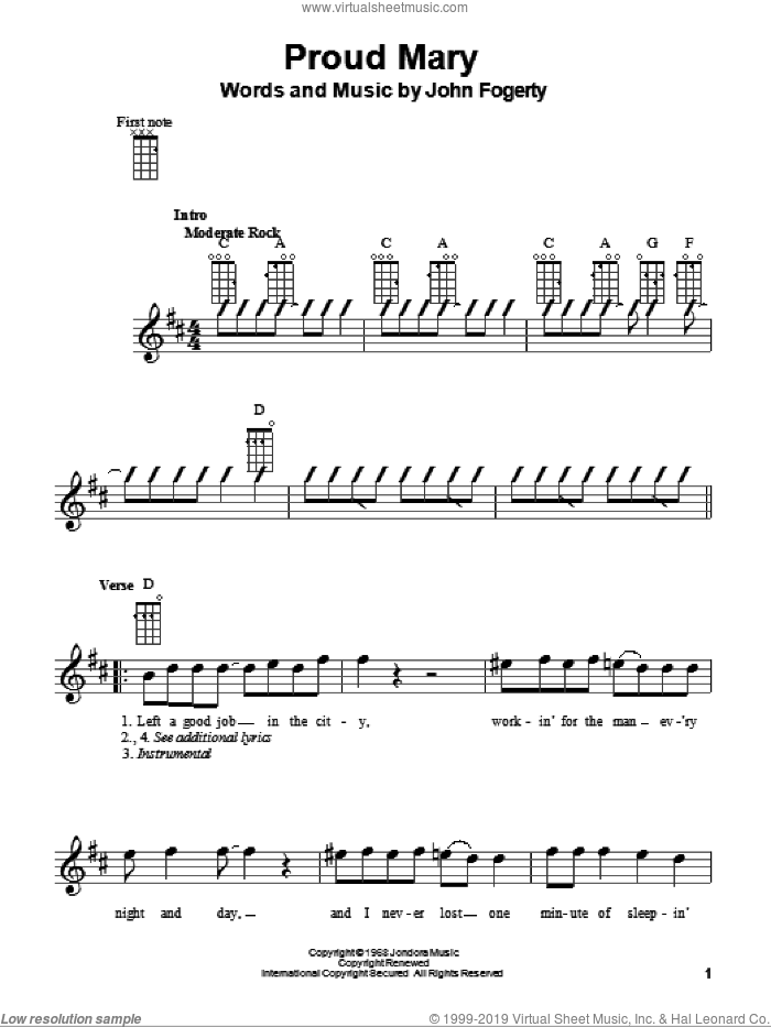 Proud Mary sheet music for ukulele by John Fogerty, Creedence Clearwater Revival and Glee Cast. Score Image Preview.