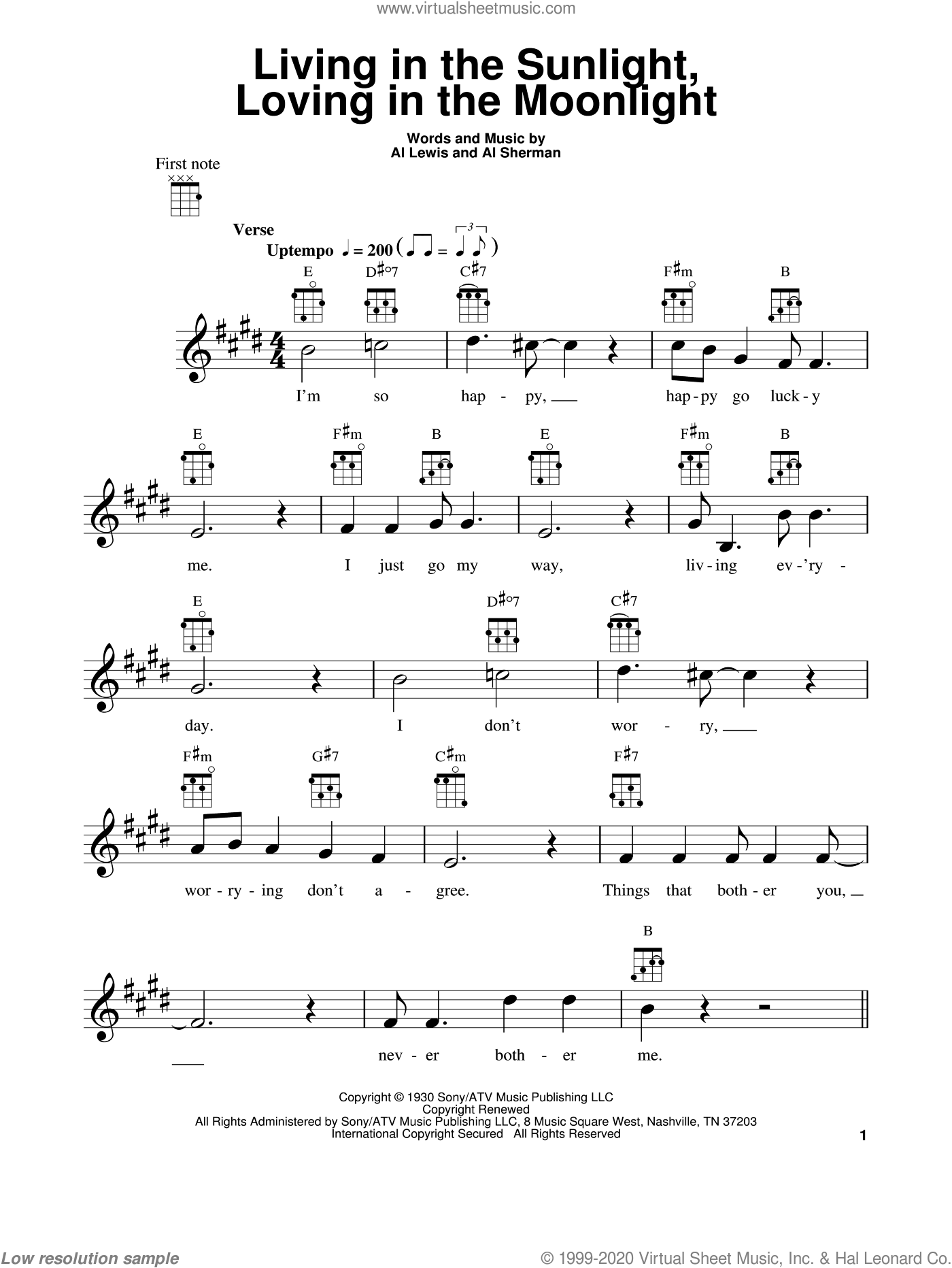 Living In The Sunlight, Loving In The Moonlight sheet music for ukulele by Al Sherman and Al Lewis, intermediate skill level