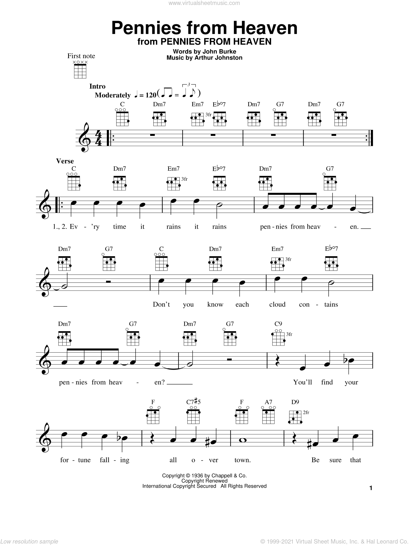 Pennies From Heaven sheet music for ukulele by John Burke, Bing Crosby and Arthur Johnston. Score Image Preview.