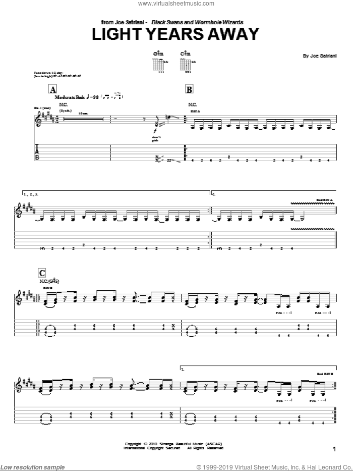 Light Years Away sheet music for guitar (tablature) by Joe Satriani, intermediate guitar (tablature). Score Image Preview.