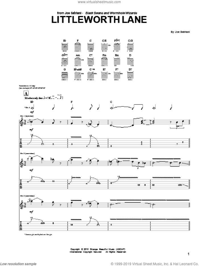 Littleworth Lane sheet music for guitar (tablature) by Joe Satriani. Score Image Preview.