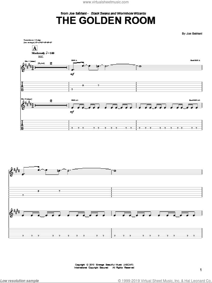 The Golden Room sheet music for guitar (tablature) by Joe Satriani, intermediate skill level
