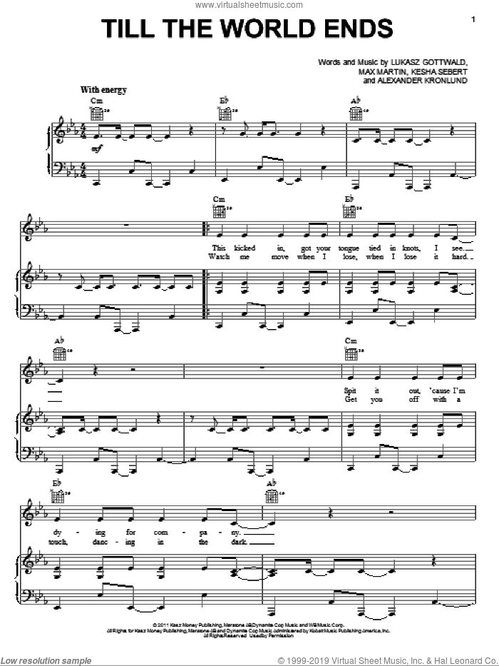 Till The World Ends sheet music for voice, piano or guitar by Britney Spears, Alexander Kronlund, Kesha Sebert, Lukasz Gottwald and Max Martin, intermediate. Score Image Preview.