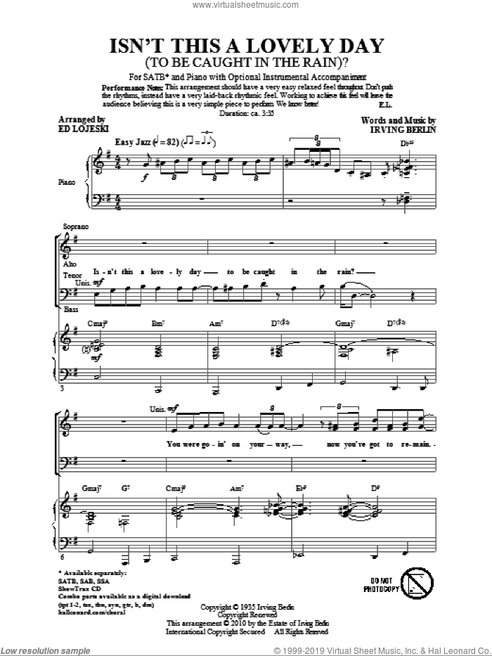 Isn't This A Lovely Day (To Be Caught In The Rain?) sheet music for choir (SATB: soprano, alto, tenor, bass) by Irving Berlin and Ed Lojeski, intermediate skill level