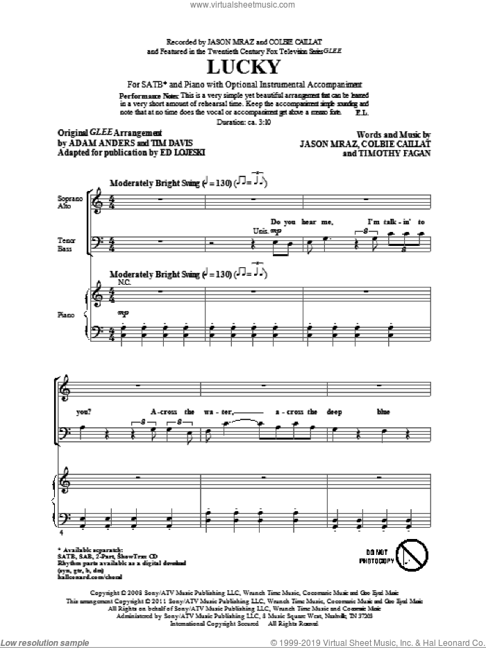 Lucky sheet music for choir (SATB) by Glee Cast, Colbie Caillat, Ed Lojeski, Jason Mraz and Miscellaneous, intermediate choir (SATB). Score Image Preview.