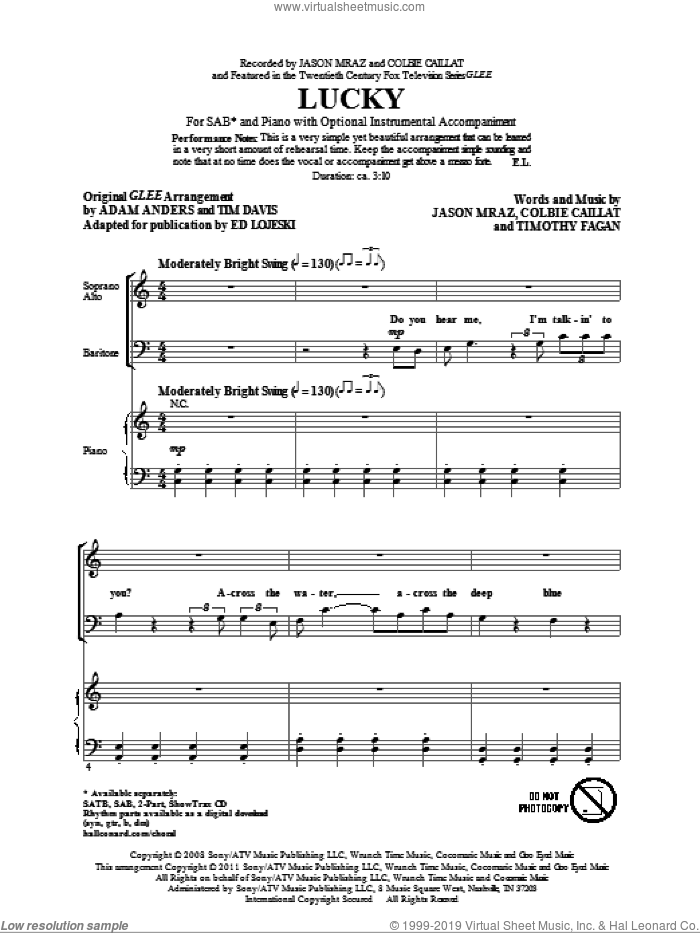 Lucky sheet music for choir (SAB) by Glee Cast, Colbie Caillat, Ed Lojeski, Jason Mraz and Miscellaneous. Score Image Preview.
